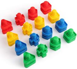 32 Pcs Jumbo Nuts And Bolts Set Shapes And Colors Matching T