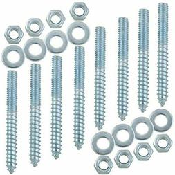 8 Pack 5/16-18 X 3 Inch Hanger Bolt Kit With Nuts And Washer