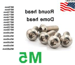 M5x0.8 5mm metric 6-80mm Stainless Steel Button head Hex bol