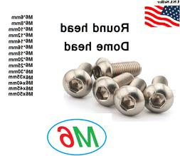 M6x1.0  Metric 6mm up to 50mm Stainless Steel Button Hex bol